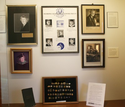A new installation in a refurbished display case on the landing between Storrs Hall and the Widmer Wing celebrates the School of Nursing's and Connecticut's connections to nursing history.
